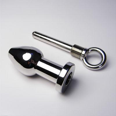 后庭肛塞--潜龙--专业清洗塞 + 不锈钢重型金属肛栓(黑帝)