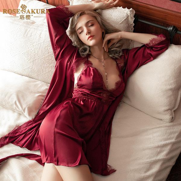 性感裙装-珞樱-珞樱 轻奢迷人仿真丝睡衣睡袍三件套