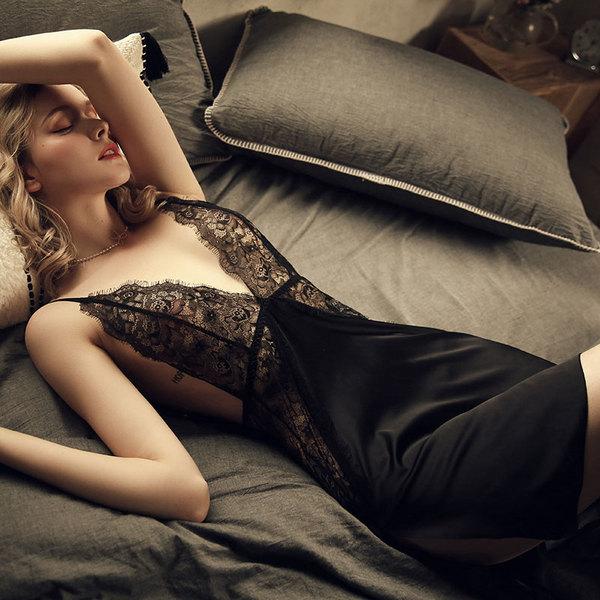 性感裙装-瑰若-瑰若 薄款蕾丝情调吊带私房小胸睡裙