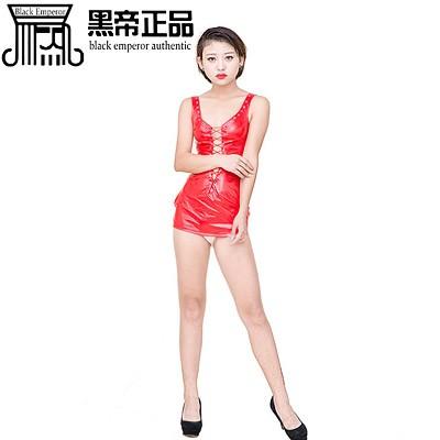 性感裙装--性感车模裹裙红亮光性感短裙
